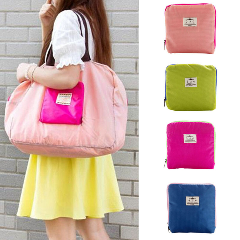 Feitong Fashion Candy Color Polyester Fiber Foldable Shopping Street Shopper Fabric Multifunctional Shoulder Bag Free Shipping(China (Mainland))