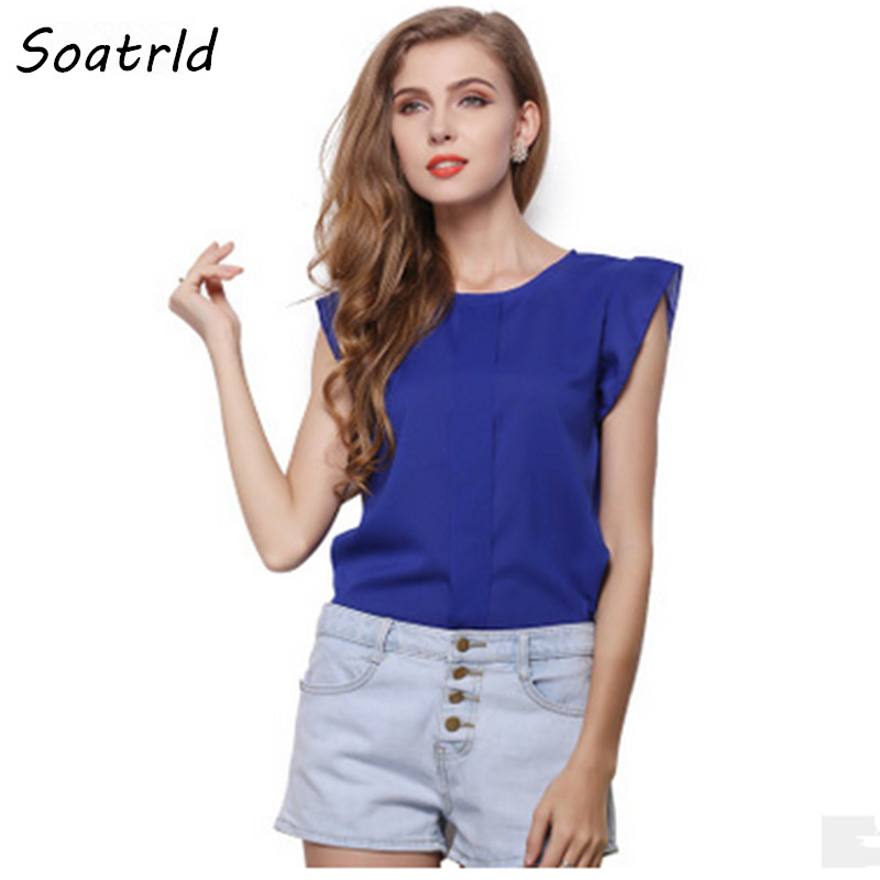Soatrld New T Shirt Women Casual Short-sleeve O-neck Solid OL Woman Loose Blusas Plus Size Cropped Clothing blusas femininas - Shop739048 Store store