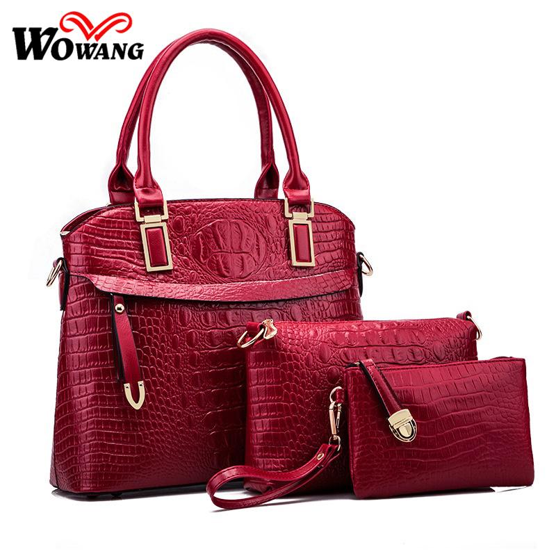 2016 Women Leather Handbag Women Messenger Bags Sac A Main Ladies Brand Designs Shoulder Bag Crocodile Pattern Tote Purse 3 Sets(China (Mainland))