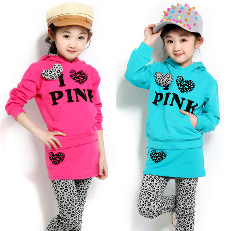 Children's New Girl Autumn Korean Leopard Two Piece Suit Kids Clothes Blue Pink Heart for 2~13 Years Old Cotton(China (Mainland))