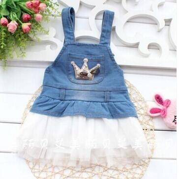 2016 Summer new baby denim dress with mesh patchwork fashion style baby girls overall denim dresses(China (Mainland))