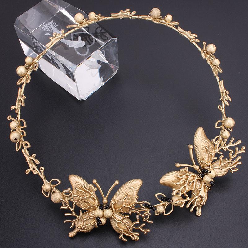Hot Sale Butterfly Gold Girls Princess Rhinestone Headbands Beautiful Crystal Lady Hair Accessories Wedding Jewelry Headband New(China (Mainland))