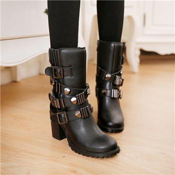 Здесь можно купить  Full Grain Leather Motocyce military Combat Biker Army Round Toe Womens Block High Heel Side Zipper Buckle Mid Calf Boots Black  Обувь