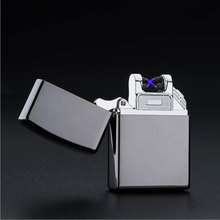 Windproof Pocket Double Pulse Arc Metal Ultra-Thin USB Lighter Creative Charging Electronic Cigarette Lighters Gift Box(China (Mainland))