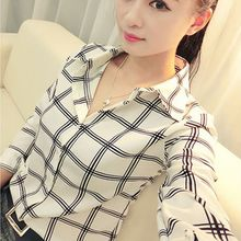2016 Summer Women's Long Sleeve White Shirts Plaids Pattern Lapel Blusas Casual Blouse Tops Plus Size