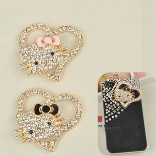 Min.$15 (Mixed Order) Cell Phone Case DIY Charms Alloy Hello Kitty Cat Heart Decoration AC105(China (Mainland))