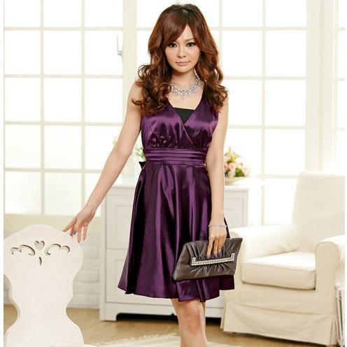 2015 New Korean Women Summer Dress Large Size Noble Fashion Style V Neck Dress Plus Size Sexy