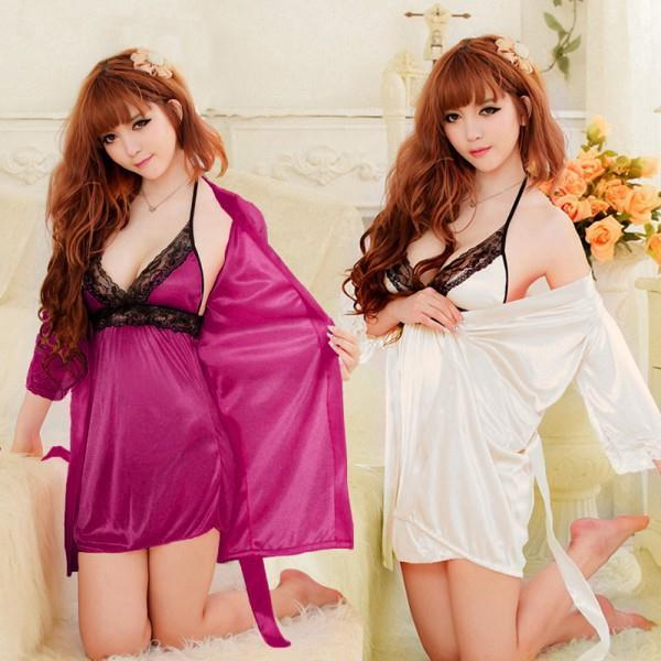 Hot Sexy Womens Silk Lace Robe Babydoll Sleepwear Lingerie Nightdress Pajamas 3 PCS(China (Mainland))