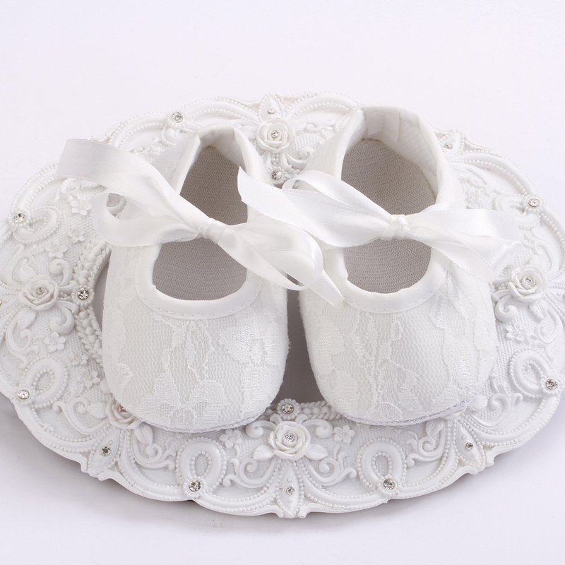 Cute Ivory Flower Girls Baby Crib shoes soft sole zapatos ninas prewalker infant christening shoes baptism lace Slipper #4Y0124(China (Mainland))