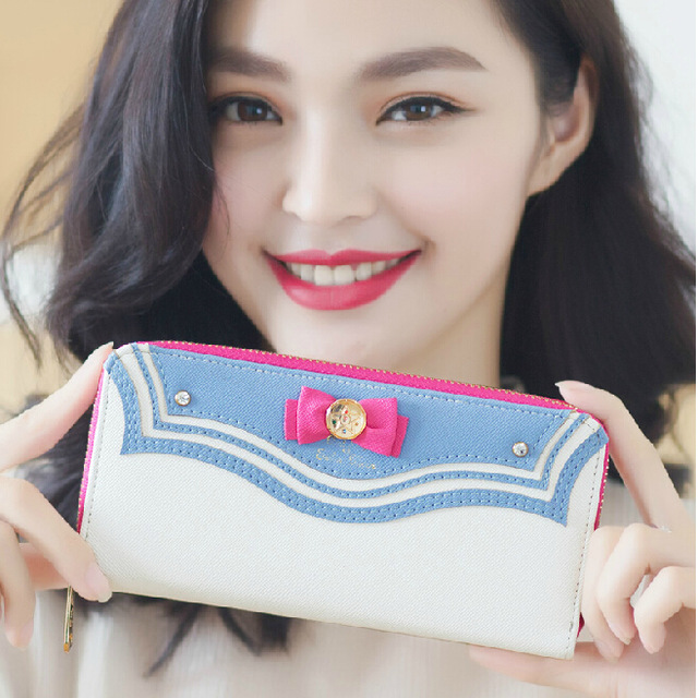 2016 New Samantha Vega Sailor Moon Ladies Long Zipper Female Bag Women Brand Leather Kawaii Pink Wallet Purse Portefeuille Femme(China (Mainland))