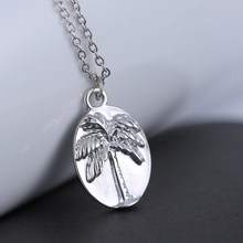 Palm trees pendant Vintage necklace hand stamped letter Necklace Engrave Bend Never Break Matching Necklace for women men (China (Mainland))