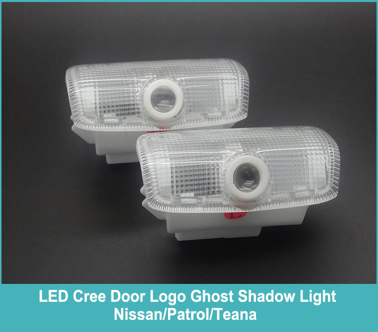 Free shipping 2 pieces CAR LED courtesy door welcome Logo Projector Ghost Shadow Laser Light For Nissan Patrol/Teana(China (Mainland))