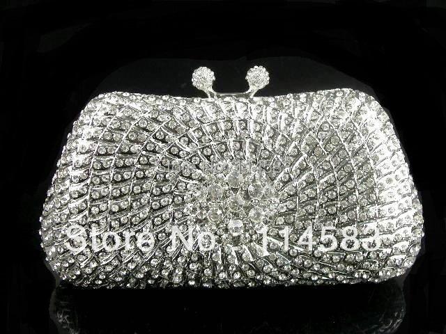 #8206 Crystal Flower Floral Bridal Party Silver Metal Evening purse clutch bag box handbag case<br><br>Aliexpress