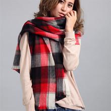 New Cashmere Scarf Winter Plaid Designer Tartan Blanket Unisex Acrylic Wrap Unisex Acrylic Basic Shawls Pashmina Oversize J050