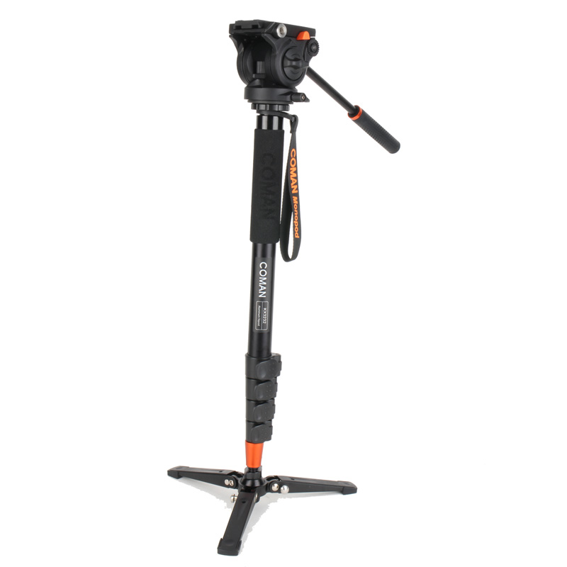 Coman Professional Photography Tripod Monopod Aluminum Alloy Fluid Video Head with Three feet support stand(China (Mainland))