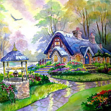5D DIY Diamond Painting Crystal Small House Full Resin Mosaic Diamond Icon Embroidery Home Decor Paintings Model Y256(China (Mainland))