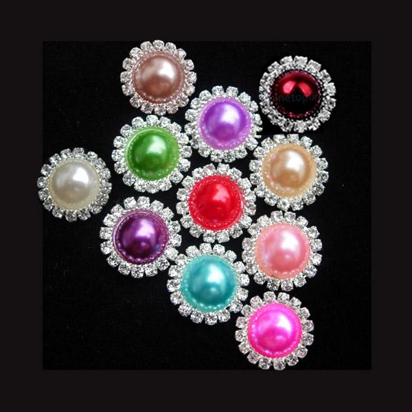 1 Set 10PCS 15mm Ivory Metal Crystal Rhinestone Pearl Button Flatback Wedding Invitation Hair Bow Craft Jewelry Accessory(China (Mainland))