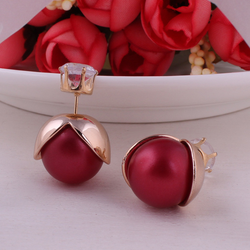 9 Colors New Arrival Torus Double Ball Earrings Romantic Gold Plated Crown Petal Double Side Pearl Earrings For Women Jewelry
