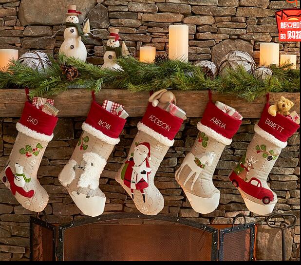 88 inx187in christmas socks embroidered name christmas sock highquality cotton gift bag decroation customized - Custom Christmas Stockings