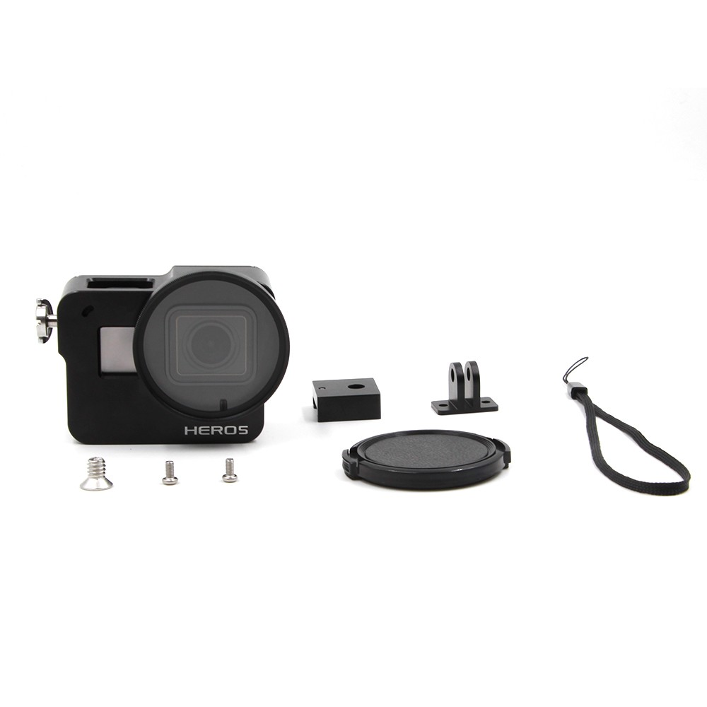TELESIN Red Protective Go Pro Frame Case Aluminum Alloy Skeleton Rugged Cage + 52mm UV Lens + Lens Cover + Bag for GoPro Hero 5