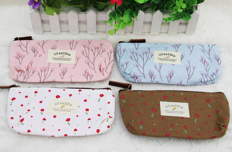 Hot Sale New Flower Floral Pencil Pen Canvas Case Cosmetic Makeup Tool Bag Storage Pouch Purse(China (Mainland))