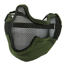 Outdoor Windproof Hat Multifunctional Airsoft Paintball Mesh Protecting Mask Half Face Protect with Ears Anti-terrorism Bilayer(China (Mainland))