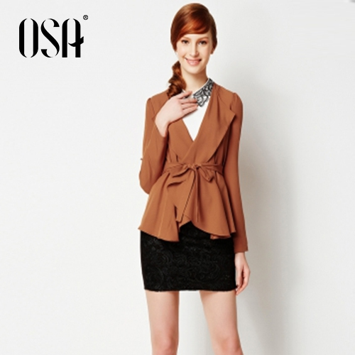 OSA 2015 New Fashion Spring Women Turn Down Collar Pleated Jackets Long Sleeve Short Causal Coat With Belt SW431063(China (Mainland))