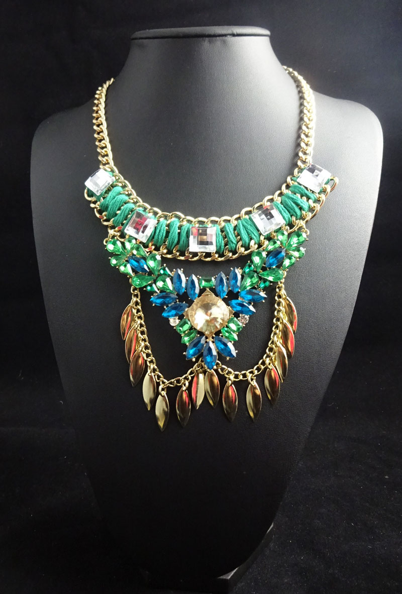 N2016032515 Latest Women Multi layers Statement Necklace Boho Wrap Chains Handmade Collar Maxi Necklaces & Pendants Big Jewelry(China (Mainland))