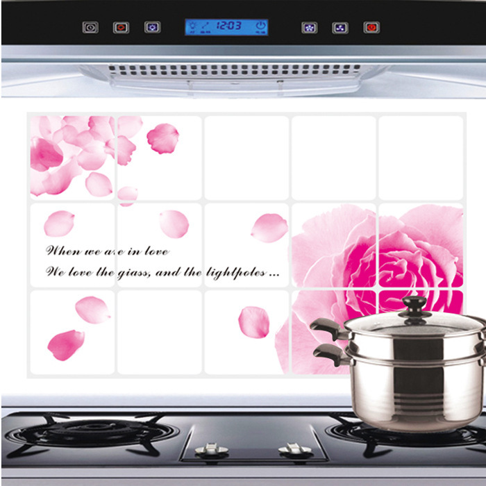 Wholesale easy to remove the kitchen decorative ceramic tiles and anti - oil paste aluminum foil oil paste red rose logo(China (Mainland))