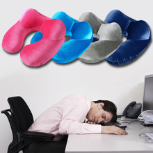 Super Deal Sale Inflatable U-Shape Neck Pillow for Airplane Office Sleep Portable Travel Pillows Velvet Fabric Cushion Accessory(China (Mainland))