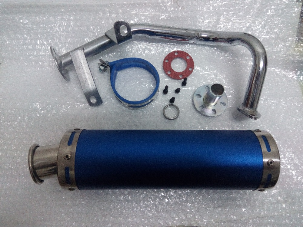 Scooter Performance Exhaust System Blue font b Gy6 b font 50cc QMB139 Chinese Scooter Parts