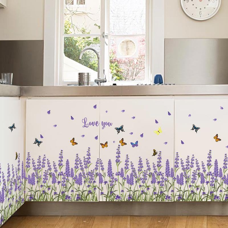 Lavender Rhe Baseboard Creative DIY Flower Wall Sticker