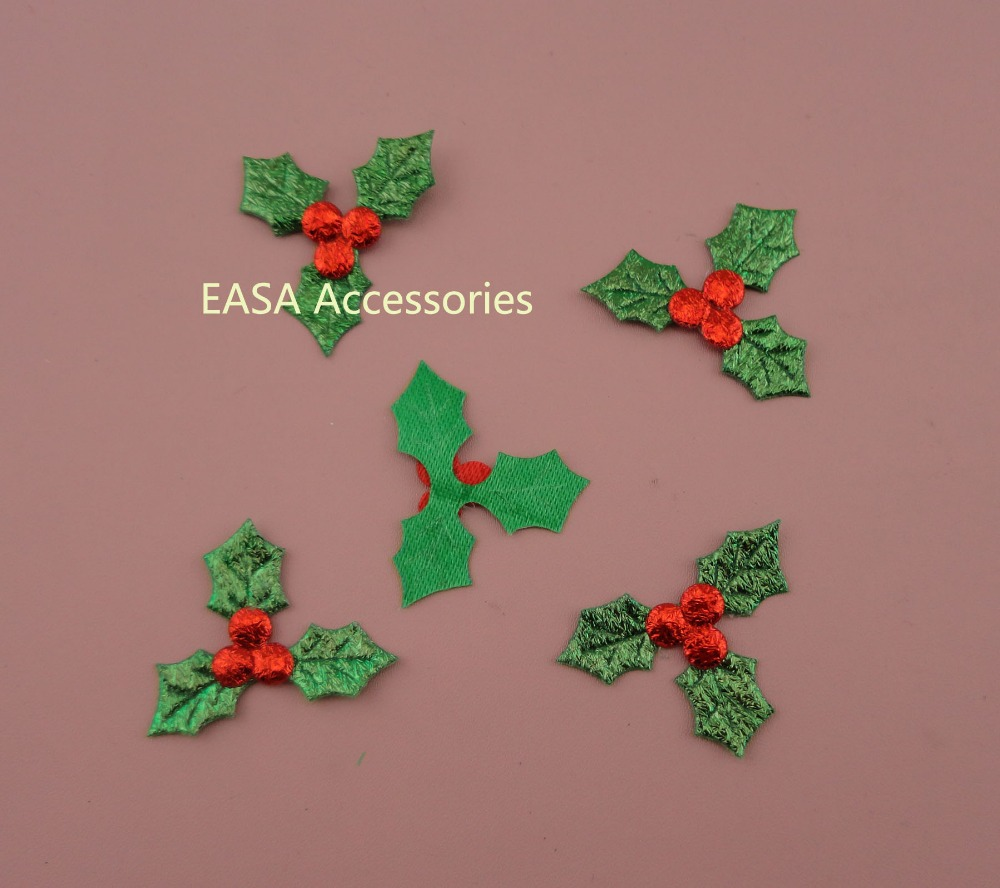 200pcs green three leaf with crabapple fabric for Applique decoration