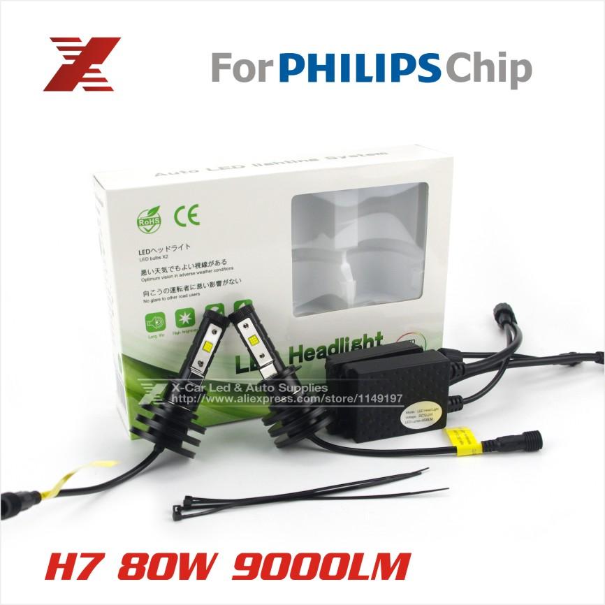 Car Headlights Kit For Philips LED H7 80W 9000lm Auto Front Light Fog Bulb 6500K Xenon White Plug&Play LED Automotive Headlamp(China (Mainland))