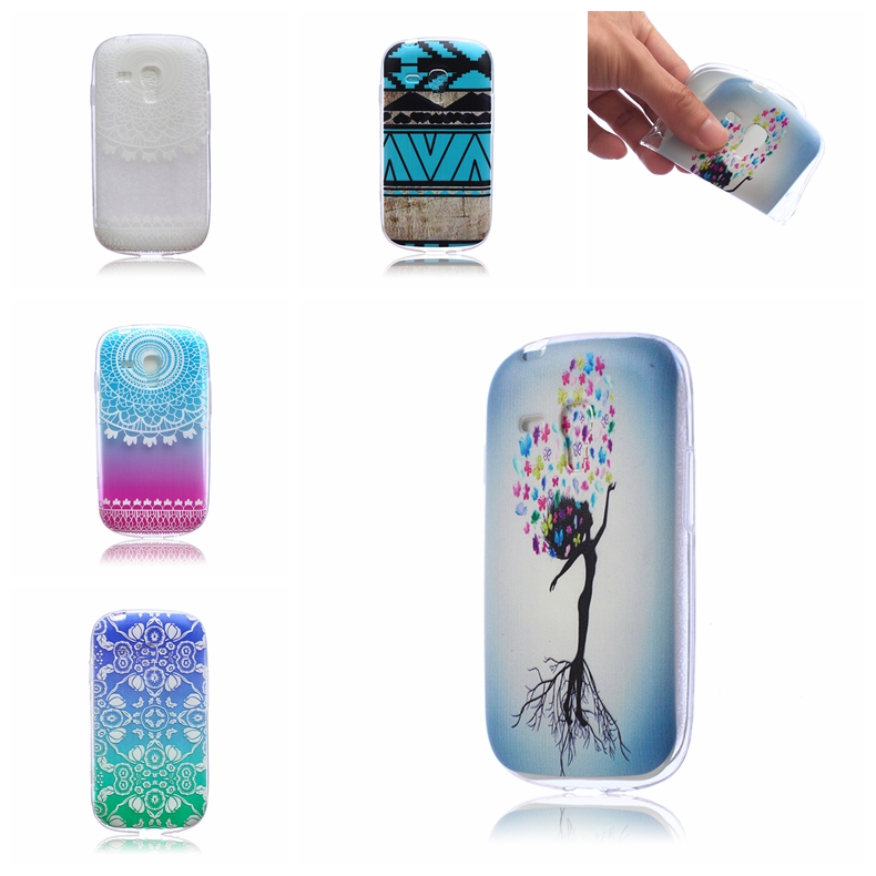 New 0.4mm Ultra Thin IMD Flower Painted Gel TPU Protector Back Cover Transparent Phone Case For Samsung Galaxy S3 mini i8190(China (Mainland))