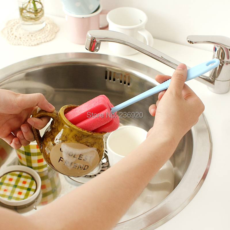 5PCS/LOT Color Cup Brush Sponge Glass Washing Cleaning Brush Kitchen Using Cleaner Tool(China (Mainland))