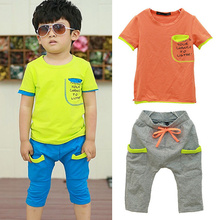 2015 Children Clothing Set Kids T-Shirt Tops Tracksuit Pants 2pcs Baby Boy Clothing Sets Sportwear Boys Outfit Suit(China (Mainland))