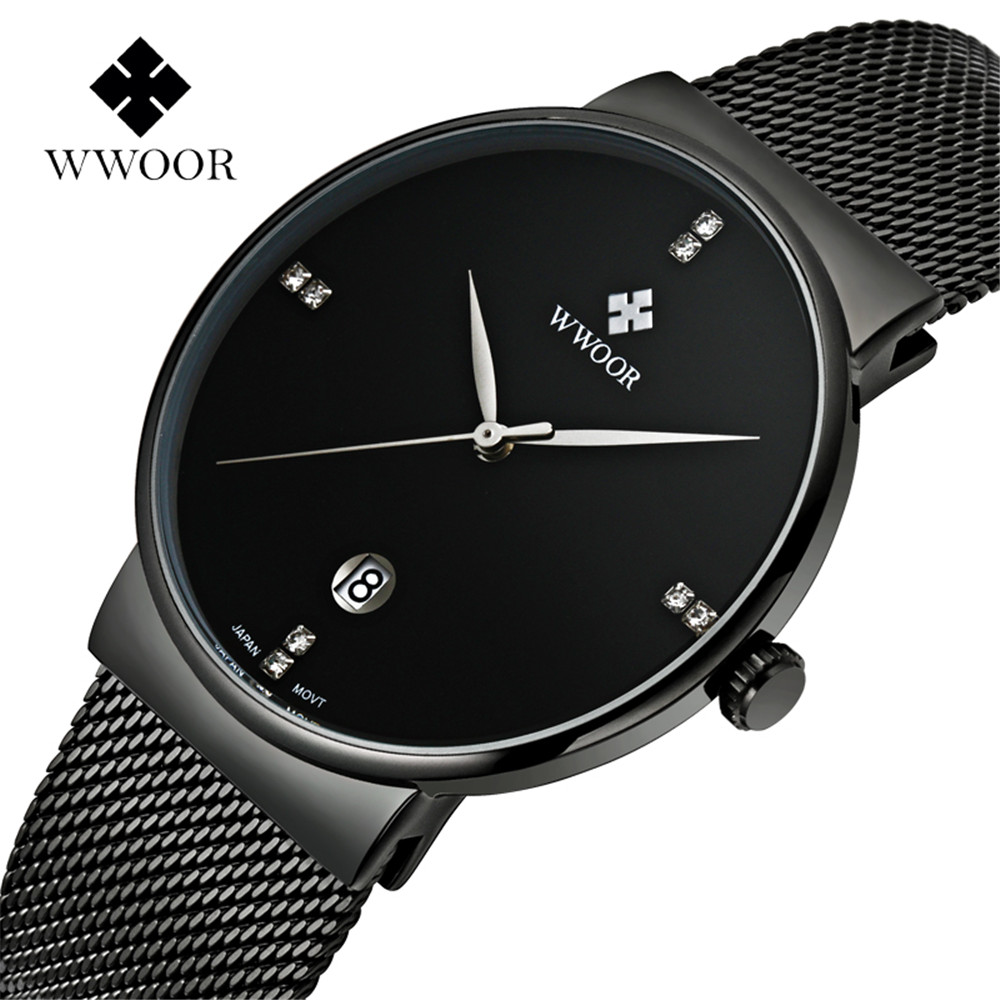 WWOOR Watch Men Fashion Brand Men's Watches Quartz Ultra Thin Dial Stainless Steel Mesh Strap Date Casual Sport Military Clock(China (Mainland))