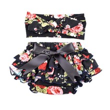 Cotton Ruffle Bloomers and Headband Set for Newborn Coming Home Photo Props Girls Diaper Cover Cake Smash Outfit KS020(China (Mainland))