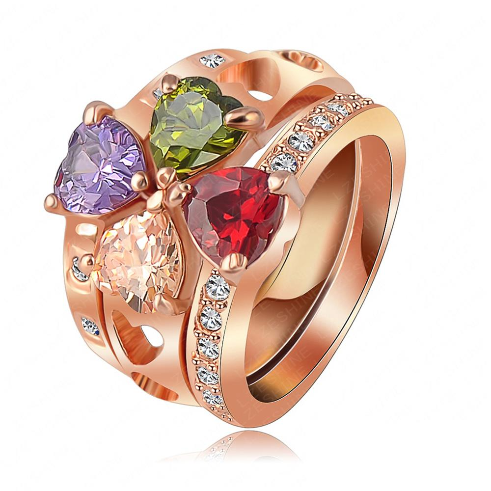 Fashion Sapphire Jewelry Ring Multicolor Austrian Crystal Gold Plated Anel Engagement Rings For Women Ri-HQ1009(China (Mainland))