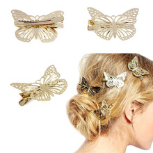 2015 Amaing Coming Golden Butterfly Hair Accessories Hair Clip Headpiece Hair Head Side Decor Wedding Jewelry Free Shipping(China (Mainland))