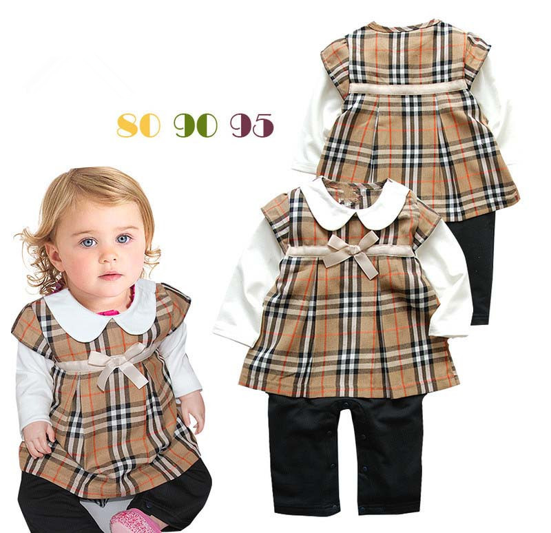 New design fashion baby girls cotton long sleeve plaid dress rompers fashion brand name kids fake two piece clothes girl rompers(China (Mainland))