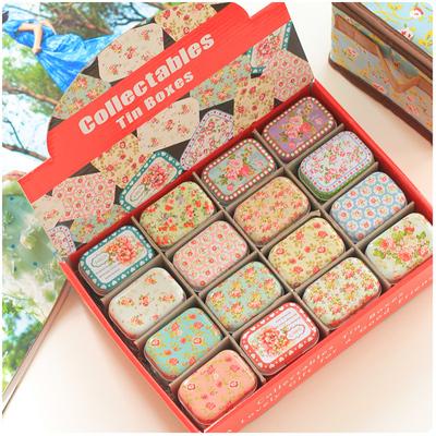 32pcs/lot floral design mini storage tin box organizer pillbox jewelry container zakka girl favor household lovely iron box(China (Mainland))