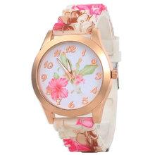 Venta caliente de la nueva flores de la mujer relojes de silicona Casual Ladies relojes del cuarzo Vintage 2015 envío gratis