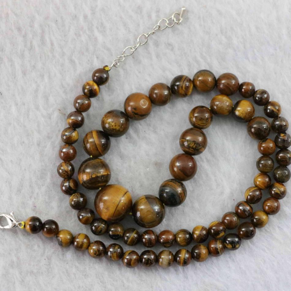 "New yellow tiger stone 6-14mm round beads tower chain necklace making jewelry 18"" B1019(China (Mainland))"