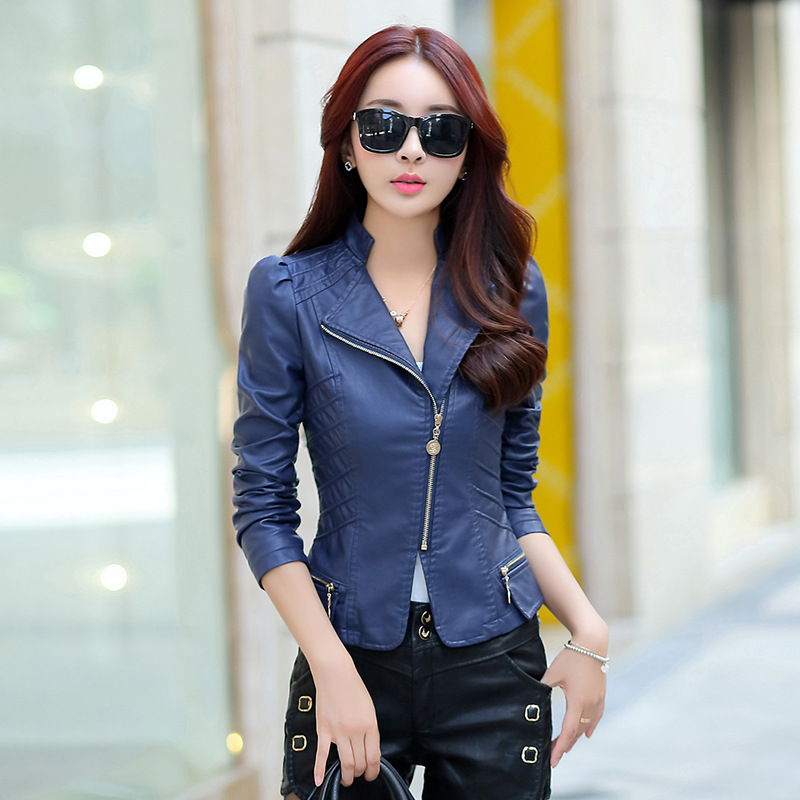 2016 spring new female small leather short paragraph pu leather jacket fashion Korean Slim small suit jacket free shipping