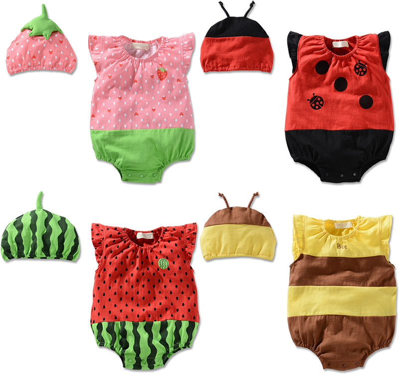 Hot Newborn Infant Baby BB Girl Clothes Ropa de Bebe Kids Boy Costume Hat Cap+Bodysuit Fruit Ladybug Bee Clothing Set Outfit(China (Mainland))