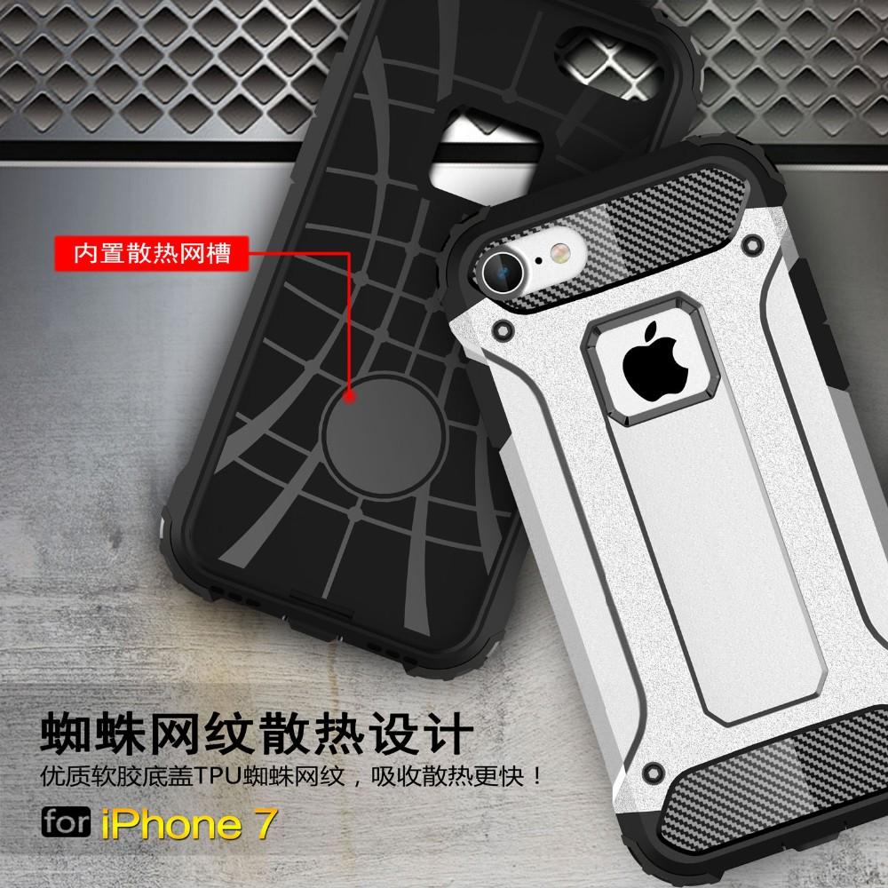100pcs/lot Free shipping 10colours Diamond Armor TPU+PC Accessories skin cover case for apple iphone 7 cell phone case