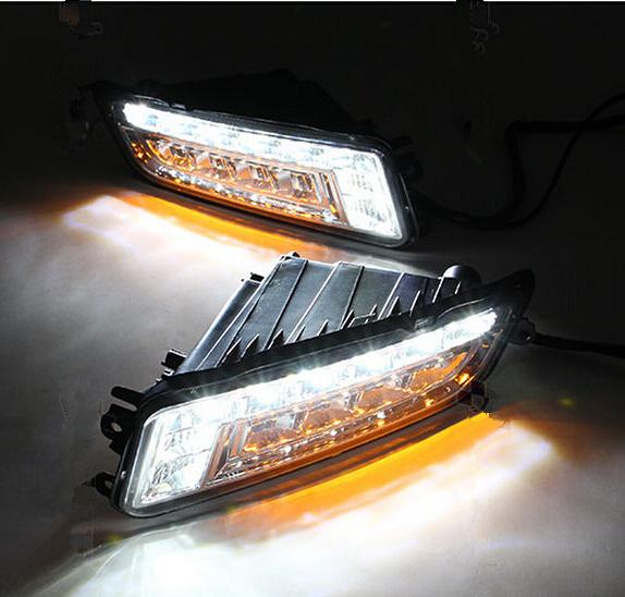 Фотография Turn Signal and Turn Off Style 12V LED Car DRL Daytime Running Lights Fog Lamp for Volkswagen Santana 2013 2014