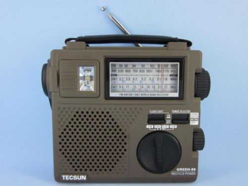 New TECSUN GREEN-88 FM/AM/SW Hand Crank Rechargeable Radio free shipping(China (Mainland))